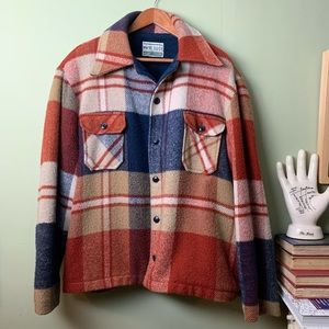 Maine Guide Vintage Red Plaid Wool Shirt Jacket